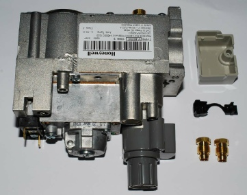 Photo of a new Honeywell V4600C gas valve, also called a multifunctional gas control.