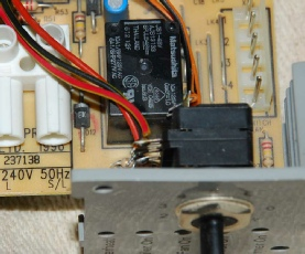 Black relay on a Baxi Solo PF boiler circuit board. The same PCB is used on both Baxi Solo 2 and Baxi Solo 3 boilers.